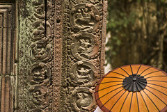 A roundabout and a tourning point (aurelio.asiain) Tags: stone cambodia khmer parasol angkor taprohm
