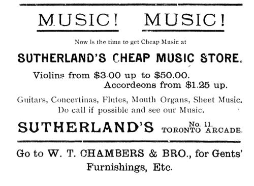 Vintage Ad #757: Sutherland's Cheap Music Store
