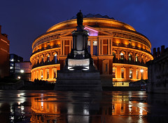 Royal Albert Hall London (david.bank (www.david-bank.com)) Tags: uk england music reflection london rain statue hall concert royalalberthall dusk bluehour waterpuddle twiilght