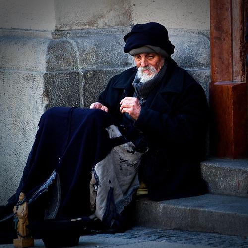 An old rich man (inwardly)...