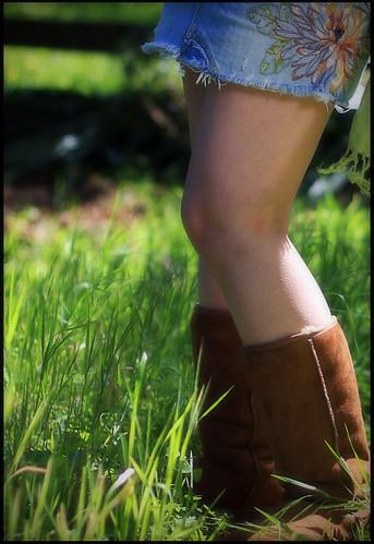 portrait green feet girl grass fashion lady boot spring boots leg mini skirt gal grasses knees knee grassland miniskirt ugg