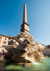 Agonalis Obelisk In The Piazza Navona (Sean Molin Photography) Tags: city sky rome roma fountain beautiful soldier italia european roman obelisk epic gladiator mediteranian agonalis fourrivers vacationeuropeitalyrome2009marchvacationitalli vacationeuropeitalyrome2009marchvacationitallian seanmolin wwwseanmolincom