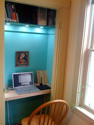 The closet office in use