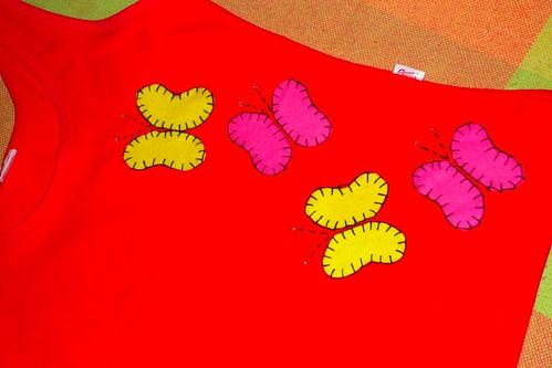Camiseta Feltro - Borboletas