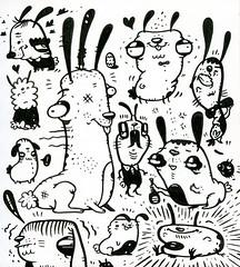 Daily Sketch 090 (TheGrossUncle) Tags: blackandwhite bunnies animals illustration ink easter design sketch blog cartoon blogger illustrative rabbits easterbunny brushpen characterdesign sketchaday grantgilliland thegrossuncle sketchadaychallenge