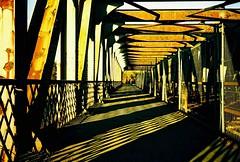 Repetition... (Trapac) Tags: uk bridge light shadow england film geometric diamonds bristol spring xpro crossprocessed iron fuji footbridge geometry bridges rusty olympus slidefilm xa2 repetition olympusxa2 barriers railings lightshadow rectangle girders railwaybridge 50iso velvia50 fujivelvia oblong wmh x75 cumberlandbasin smeatonroad explored oldrailwaybridge peakimaging processedscannedbypeakimagingsheffield olympusxa2roll10