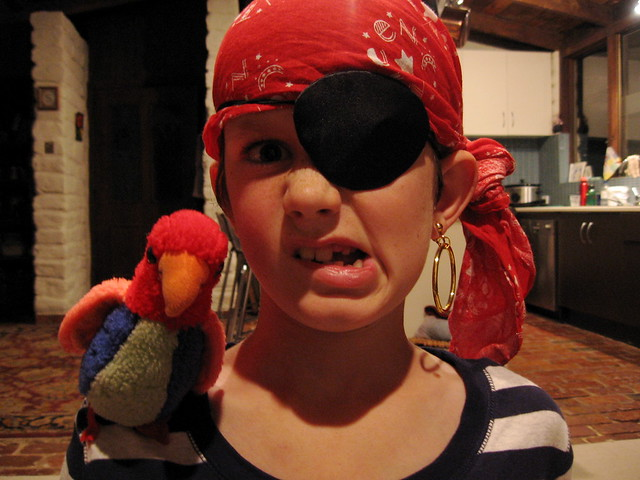 16 April : the pirate is mean but the parrot is kind of a softie har har