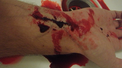 cuts on wrist. Makeup - Casualty - cut wrist
