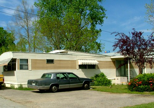 Neat Cream & Taupe Mobile Home, Older Cadillac, Bryant AR