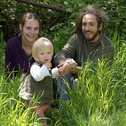 Family in tall grass