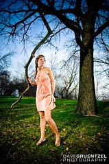 Kelly Ruth (i Take Your Photo | Dave Gruentzel Photography) Tags: wood old pink blue portrait sky woman cloud tree green girl grass clouds forest hair model woods dress cracks striking d300 portraitself davegruentzel kellywarpechowski