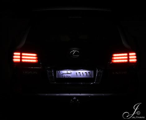 black car lights back ride tail mysterious doha qatar lexus lx 570 16166 lx570 jalthani