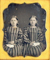 Twins with twin dolls (Mirror Image Gallery) Tags: twins dolls daguerreotype antiquetoy antiquedoll antiqueplaythings