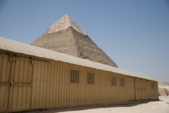 Odd place for factory building - Khafre in background (future15pic) Tags: africa travel vacation history sphinx museum architecture temple ancient rocks desert may egypt cairo massive egyptian pyramids archeology 2009 giza khufu pharoh menkaure kharfre