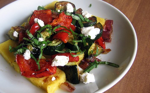 Roasted Vegetables over Polenta