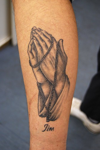 tattoos of praying hands with cross. praying hands tattoo, healed