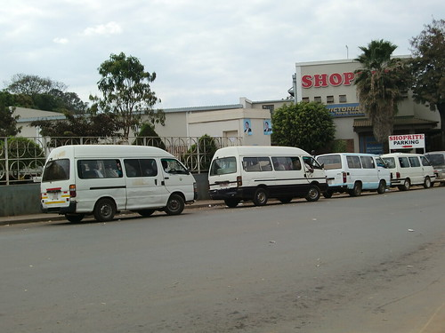 Mini buses waiting for passengers near Shopite in Old Town Lilongwe
