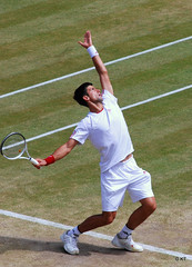 Novak Djokovic serve (Carine06) Tags: tennis wimbledon tommyhaas court1 quarterfinal novakdjokovic