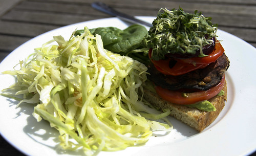 Lunch: Grilled Veggie Sandwich with Cabbage Salad