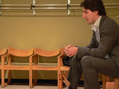 Justin Trudeau Backstage with Media