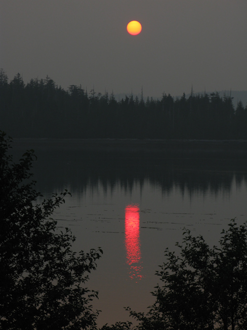 setting sun with brushstroke-like reflection, Hydaburg, Alaska