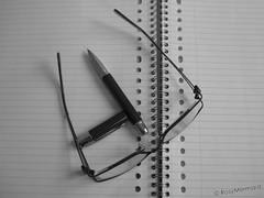WhereToBegin (<3rosy) Tags: blackandwhite bw white black macro netherlands lines pen paper notebook glasses blackwhite bokeh holes bn supermacro rosy rosymermaid