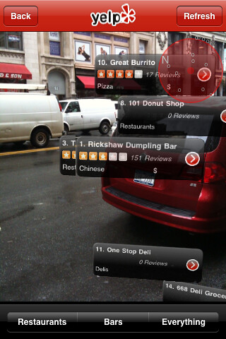 "Yelp Screen Shots of Augmented Reality ""Monocle"" Feature on iPhone App"