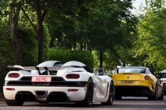 Stormtrooper. (Alex Penfold) Tags: camera white black cars alex sports car yellow breakfast club canon photography photo cool shot image awesome sunday stripe picture fast super ferrari peter exotic photograph hyper gto supercar goodwood numberplate exotica koenigsegg supercars combo aog penfold 599 2011 saywell 60d agera