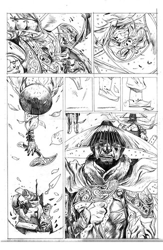Battlemonks chronicles penciled page 2 kelvin chan rocketraygun