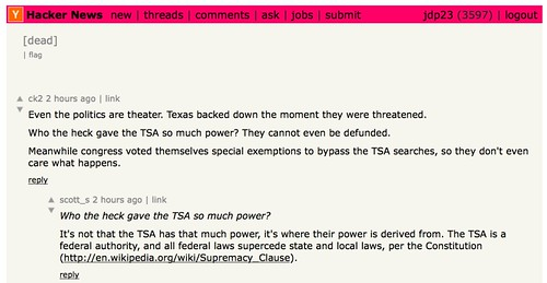 dead thread about the TSA on Hacker News