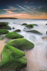 Green Rocks @ Curl Curl Beach (-yury-) Tags: ocean sunset sea seascape green beach water rock landscape sydney wave australia nsw curlcurl thepowerofnow