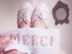 Merci ([cinnamon]) Tags: feet mirror blog shoes crossstitch thankyou merci obrigada pontocruz
