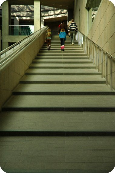 Climbing the stairs at the National Gallery