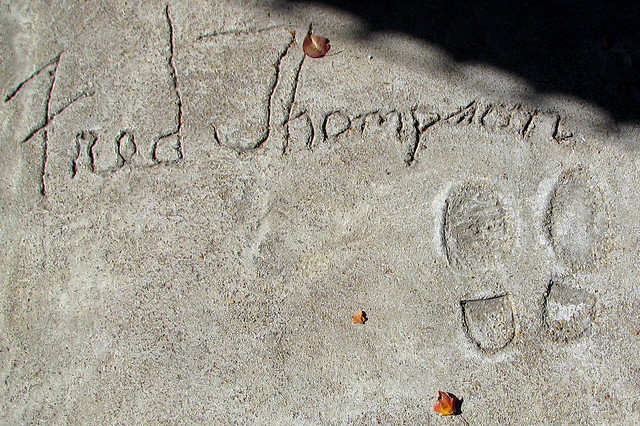Fred Thompson signature and shoe print