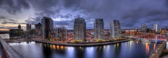NV Buildings .:(panorama):. (Esther Seijmonsbergen) Tags: uk bridge sunset england panorama reflection architecture manchester evening canal stitch dusk salfordquays explore threesisters photomerge salford hdr merge photostitch 3sisters 3xp broadwaymalyan nvbuilding estherseijmonsbergen wwwdigitalexposurephotographycom