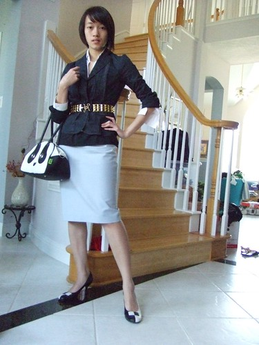 Navy Blazer, BCBG Max Azria; White collared shirt, Express (gift); Black Tank, Express; Light blue pencil skirt, Lea Rome (gift); B&W kitten heels, BCBGirls; Gold stud belt, F21; Panda Bag, Pandorama (gift)