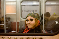 platform-car portrait (Nick Kozak - nickkozak.com) Tags: toronto ontario canada glass girl smile station fashion underground subway metro makeup style funky east broadview