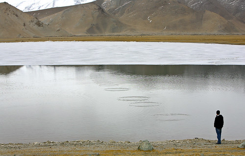 My Son Skipping Rocks on Karakul Lake