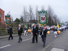 AOH Division 72 Randalstown County Antrim Ireland - Local Parade St. Patricks Day 2009 (sean and nina) Tags: county ireland girls irish male men boys saint st female feast religious drums march pom ancient women day catholic order paddy erin banner band patrick flags parade uniforms local procession division accordian pats 72 shamrock 2009 poms antrim aoh majorettes padraig hibernians randalstown ancientorderofhibernians