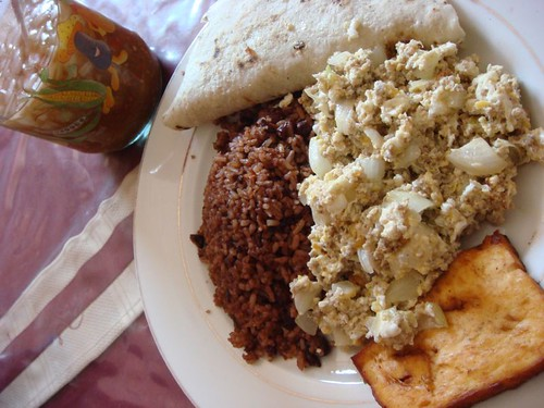 Typical gallo pinto breakfast, Nicaraguan style.