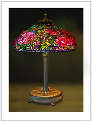 Tiffany Lamp 115e - Elaborate Peony (HDR) (katana_koshirae) Tags: lighting light art nature glass lamp floral handicraft design antique decorative interior crafts arts culture stained collection american lamps nou