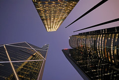 Three Musketeers (+ 2 Swords) (mischiru) Tags: building night skyscraper hongkong twilight central clear  bankofchina  youvsthebest regionwide thepinnaclehof