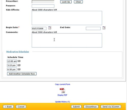 Medication Administration screen showing new feature where users can add time when medication is administered.