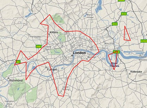 London dopplr places, filtered to only places my social network has been to, clustrd