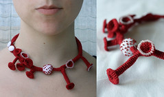 new red necklace (ulaniulani) Tags: red necklace crochet etsy beaded freeform mushroomshapes