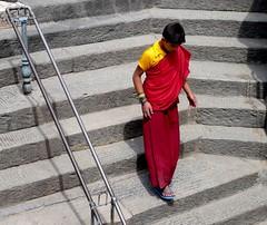 Swayambhunath, Katmandu, Nepal (balavenise) Tags: nepal yellow stairs shrine god buddha prayer religion buddhism katmandu escalier moine swayambhunath prire devnagari  flickrgiants