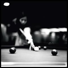 Aim (Lefty Jordan) Tags: bw hk game 120 6x6 film night ball table hongkong kodak bokeh aim tmax400 snooker kiev88