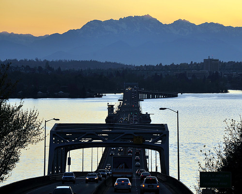 Evergreen Point Floating Bridge, Olympic Mountains