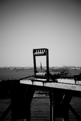 Statue of Liberty framed by Brooklyn Bridge
