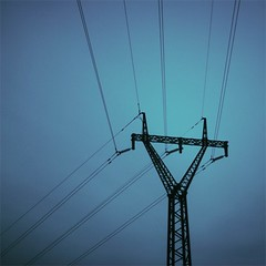 bending perspective (saicode) Tags: blue light sky square focus y perspective pole wires electricity format tone